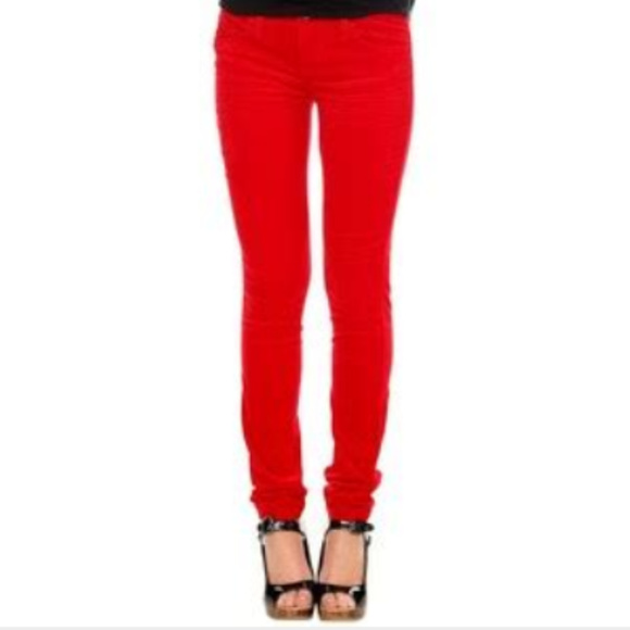 TRIPP CHERRY RED CORDUROY SKINNY JEANS SIZE 1 FROM HOT TOPIC